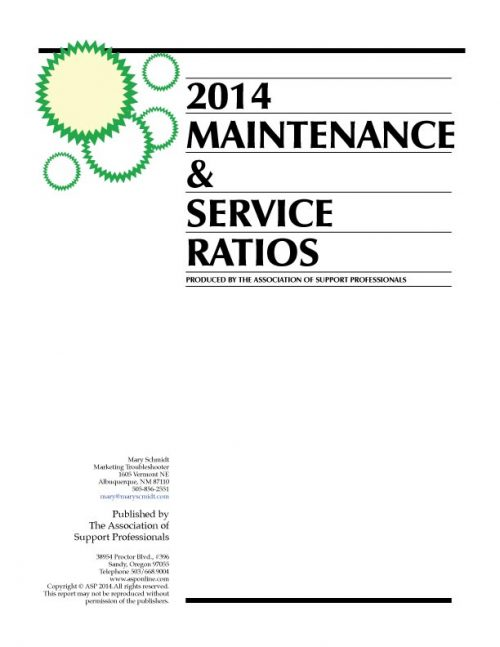 ASP's 2014 Maintenance & Service Ratios